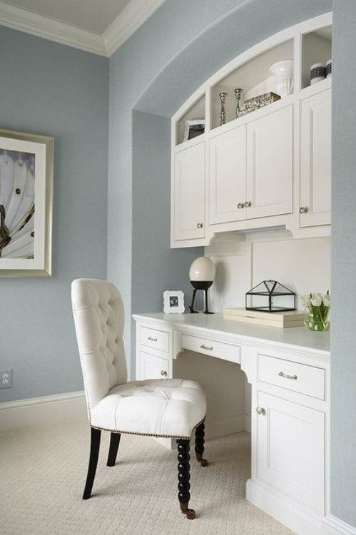 These colors are the same as my living room...I love the built in. I just have a built in bookcase. Wendy