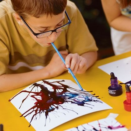 """""""Blow painting"""" -- the kids can create pictures of fireworks! Great idea for a """"4th of July"""" craft"""