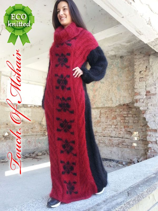 NEW  Hand Knitted Mohair Sweater Robe Fuzzy Unisex Thick  by Touch Of Mohair M,L