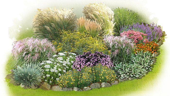 Ornamental Grasses Garden Plan ~  Gardeners love ornamental grasses because they provide months and months of beauty and structure and require very little attention. from lowes.com