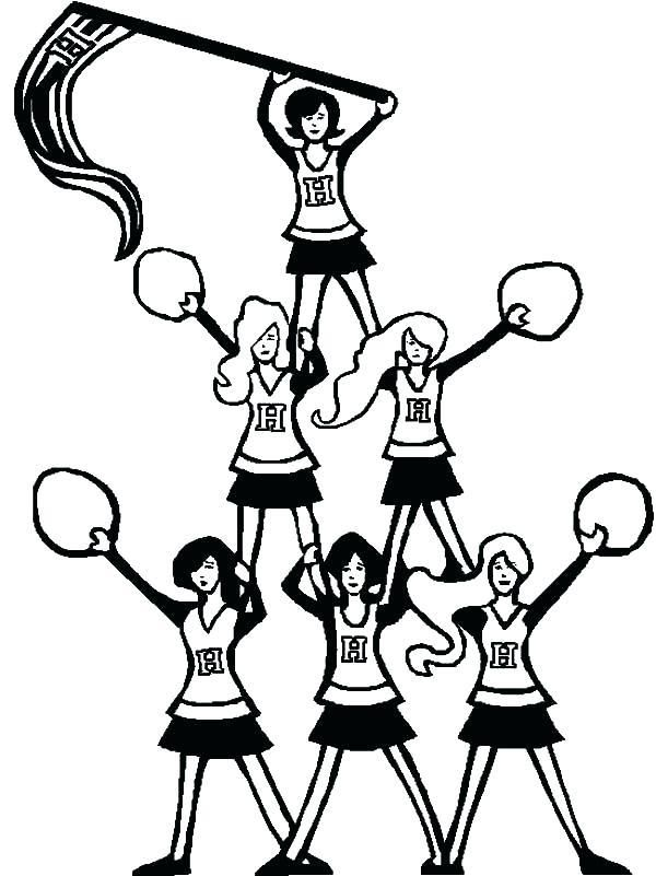 Cheer Coloring Pages Free Printable Cheerleading Sheets