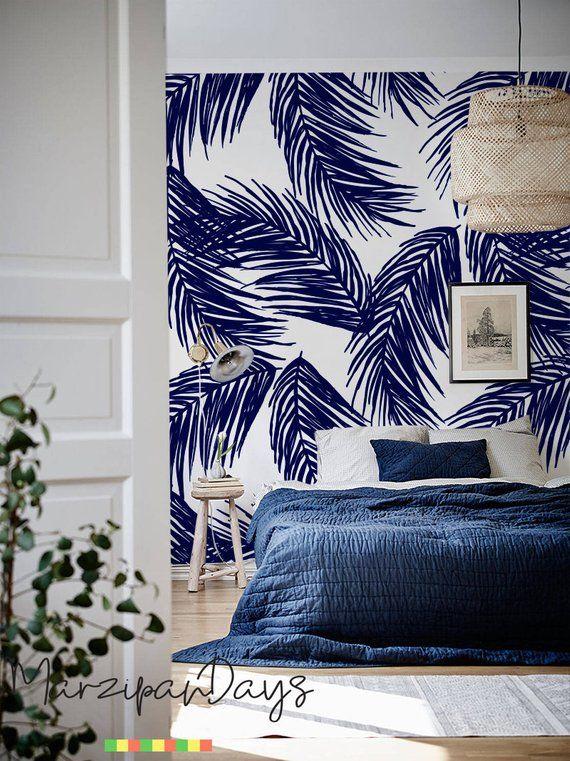 Navy Palm Leaf Wallpaper Tropical Leaf Wall Decor Palm Art Etsy Palm Leaf Wallpaper Leaf Wallpaper Tropical Wallpaper