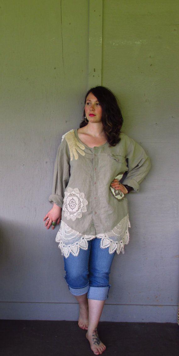 OOAK Romantic Bohemian tunic/repurposed by lillienoradrygoods, $92.50