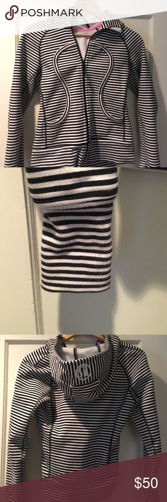 Black and white striped scuba hoodie Great condition, gently worn. I bought it from Posh but I like a little looser fit so passing it on to another lucky lady. lululemon athletica Tops Sweatshirts & Hoodies