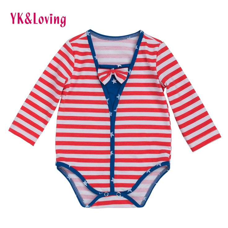 >> Click to Buy << 4th Of July Baby Boy/Girls long Sleeve Romper Striped Festival Jumpsuit Bow Patriotic American Flag Kids 0-2 Years Clothing #Affiliate