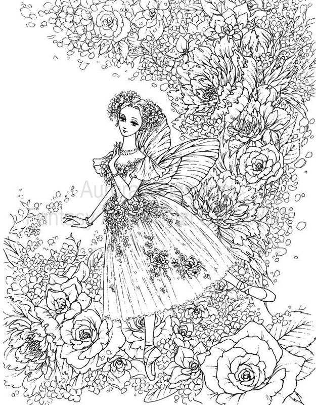 My Coloring Book Features 19 Line Drawings In The Theme Of Flowers You Will Find Mermaids Fairies And Beautiful Maidens This Staple Bound Has A