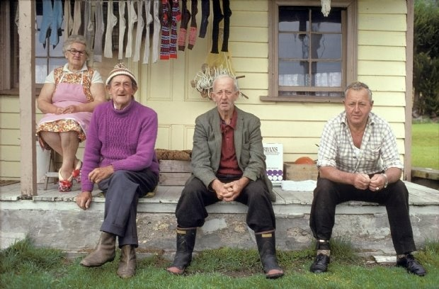 Christina and Bert Lewis and his brothers, Shack and Bob. Deborah Bay, Otago. 1979 © Robin Morrison.    wonderful color photographs by New Zealand photographer. reminds me of when the pioneers in color photography in the '70's here - Shore, Eggleston, Christenberry...talk about that 'other artist' in Italy who was also working in color then - Luigi Ghirri.    favorite postcard from my New Zealand friend who sent it from home in 2006…