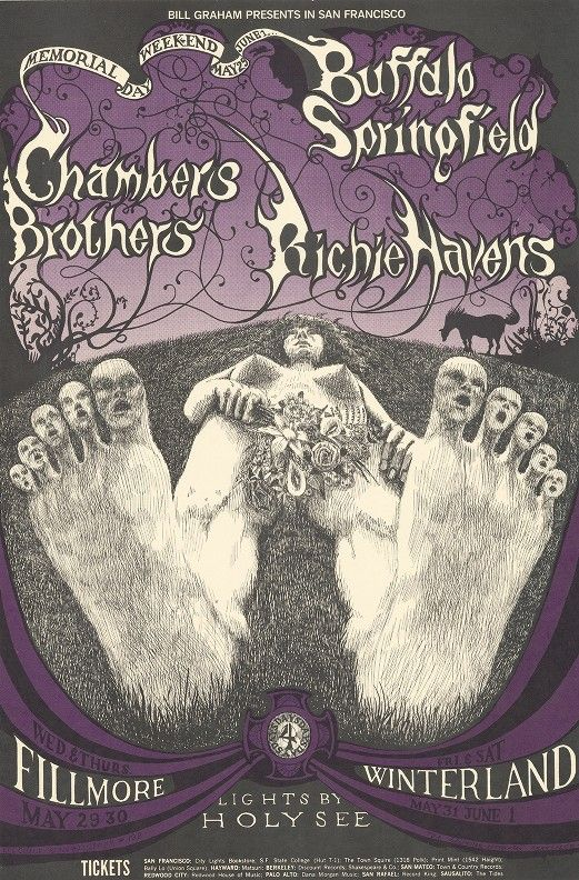 Buffalo Springfield, Chambers Brothers, Richie Havens - Lights by Holy See - Bill Graham Presents in San Francisco - May 29-June 1 [1968]