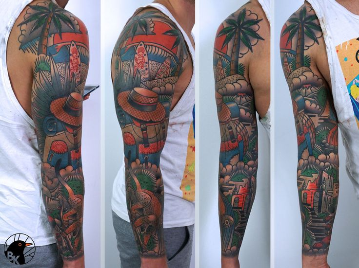 Travel Sleeve by Bartek Kos Tattoo  https://www.instagram.com/bk_tats/