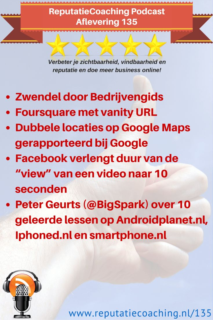 """Zwendel door Bedrijvengids • Foursquare met vanity URL • Dubbele locaties op Google Maps gerapporteerd bij Google • Facebook verlengt duur van de """"view"""" van een video naar 10 seconden • Peter Geurts (@BigSpark) over 10 geleerde lessen op Androidplanet.nl, Iphoned.nl en smartphone.nl"""