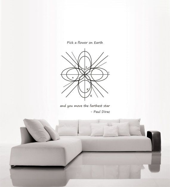 Science art physics - Paul Dirac inspirational quote and Geometric Graphs by CutnPasteshop
