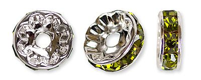 Rondelle Rhinestone Pave beads 8 mm Olive Green Color 5 Beads
