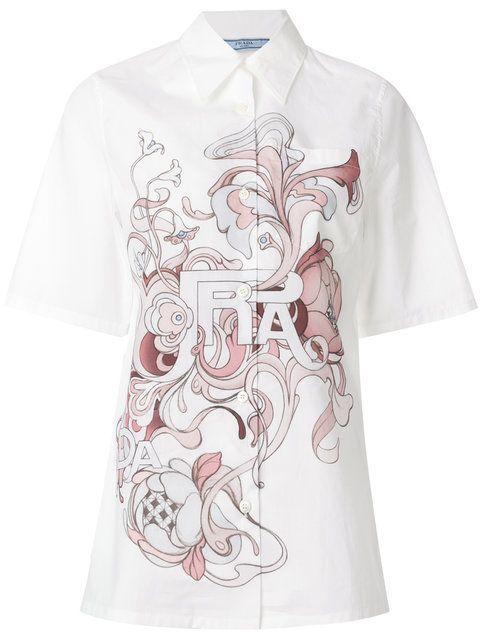 Shop Prada logo printed shirt