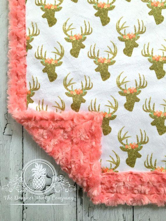 Minky Deer Baby Blanket Glitter Deer by TheDesignerMinkyCo
