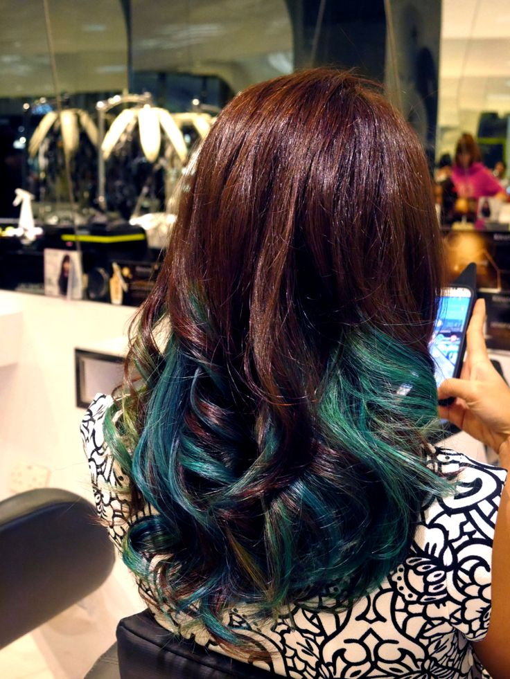Shades of blue, emerald & ash by Protrim Hair Salon Singapore | Hair colouring | Ombre | Beauty