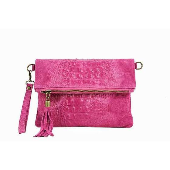Photo of OBC Made in Italy WOMEN Genuine Leather Clutch Bag Crocodile Suede Handbag Shoulder Bag Leather Shoulder Bag Fringed Cross-Over Yellow
