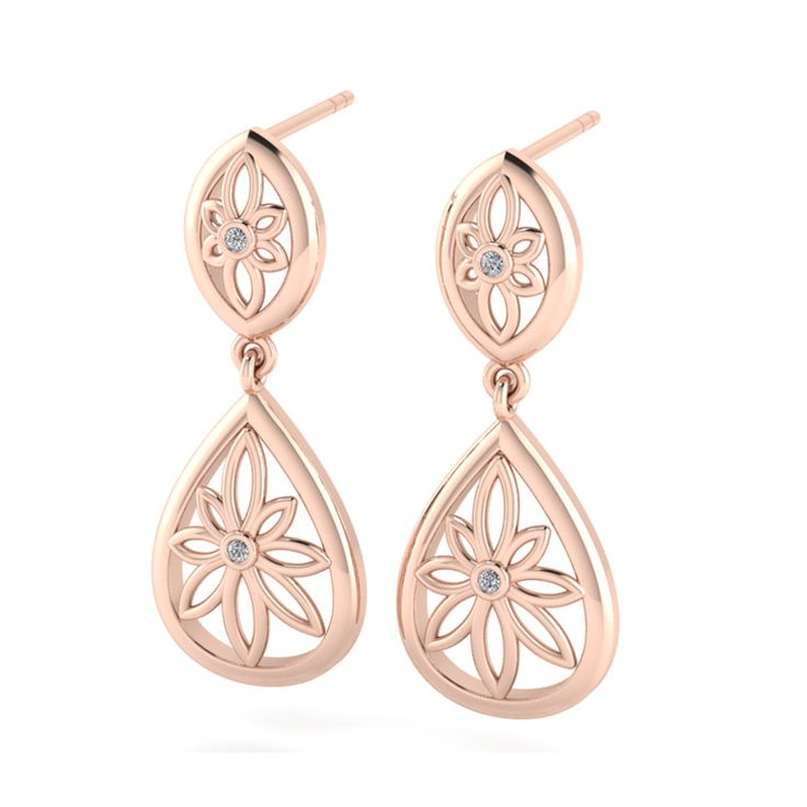 [WHY LOVE] Floral Collection - Rose Gold Plated Diamond Teardrop Chandelier Earrings by WHYJewellery