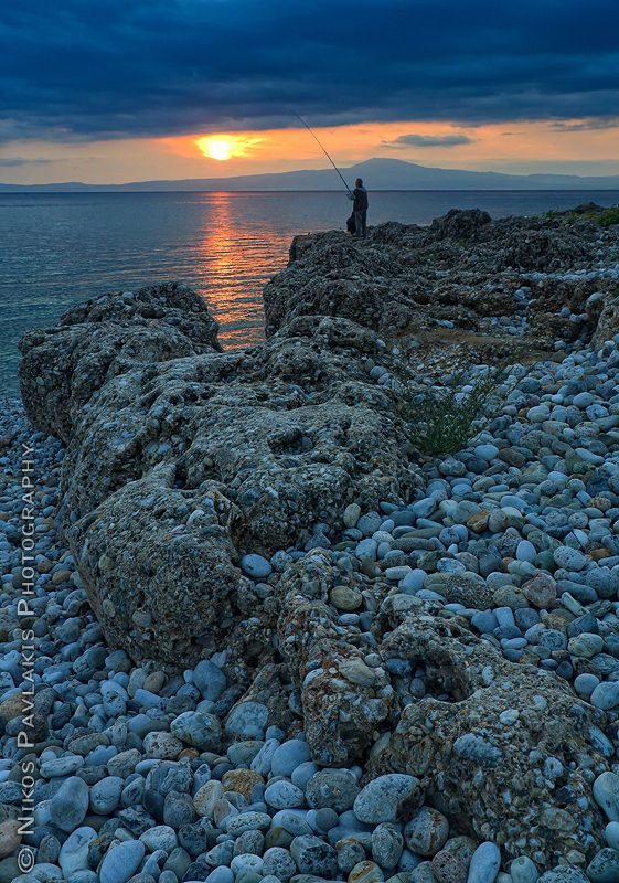 Fishing in Messinia (Peloponnese) at sunset