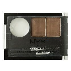 NYX cosmetics brow powder...i buy in Black/Gray because the gray is a perfect soft charcoal for brunette brows like mine