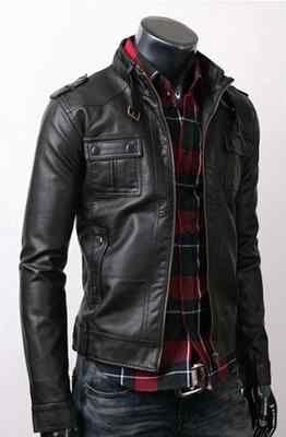 Fine Quality Strap Pocket Slim Fit Men Leather Jacket Black | eBay
