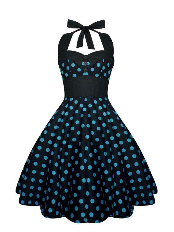 Rockabilly vestido Pin Up lunares negro por LadyMayraClothing
