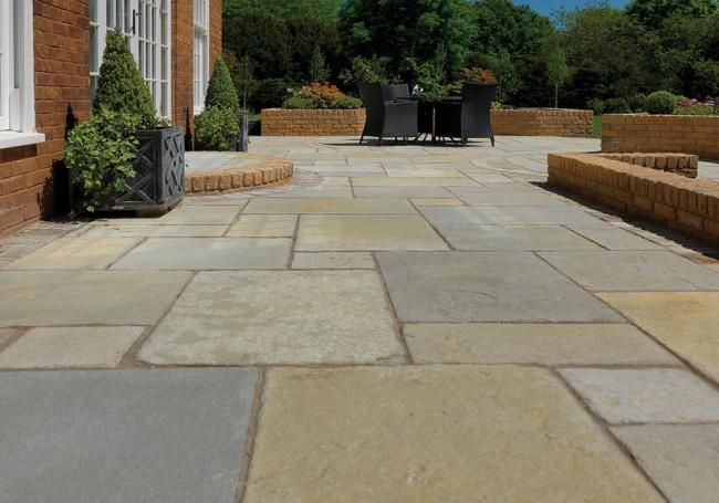 Pavestone Tudor Antique Cathedral is a wonderful limestone paving designed to blend in well with older properties.   #traditional #limestone #paving