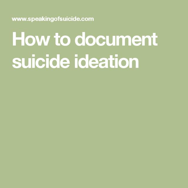 How to document suicide ideation
