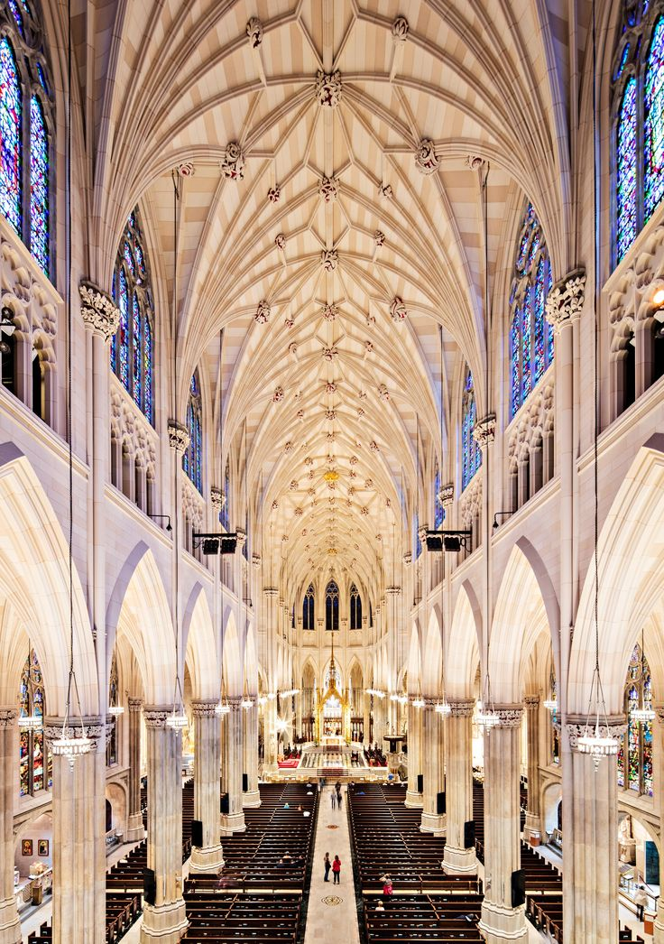 Sanctuary. Gothic Revival St. Patrick's Cathedral, Manhattan, NY. Renovation by Murphy Burnham & Buttrick.  Architect: James Renwick Jr.