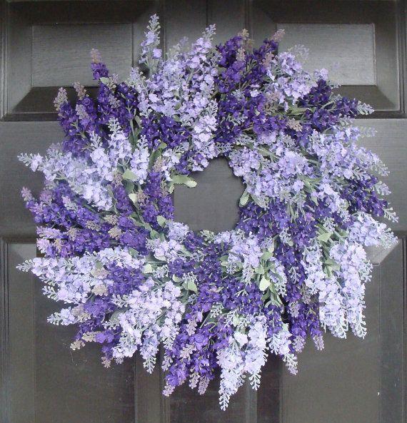 Lavender Wreath for Door- Lavender Outdoor Summer Wreath- Bathroom Decor- Spring Wreath- 18 inch