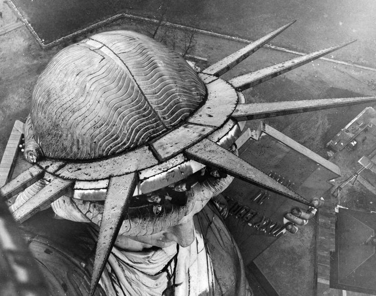 Rare view of the top of the Statue of Liberty's Hair taken from the Torch, ca. 1930