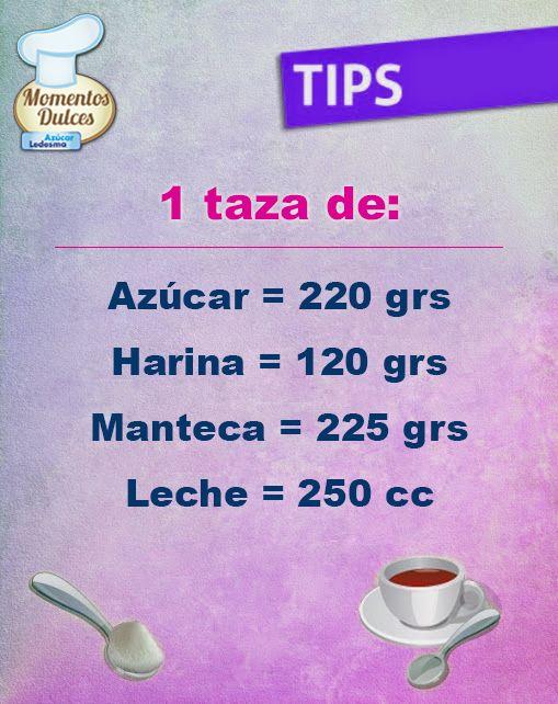 #TipsLedesma: Cuando hablamos de taza, en repostería, nos referimos a la que tiene capacidad para 250 cc.