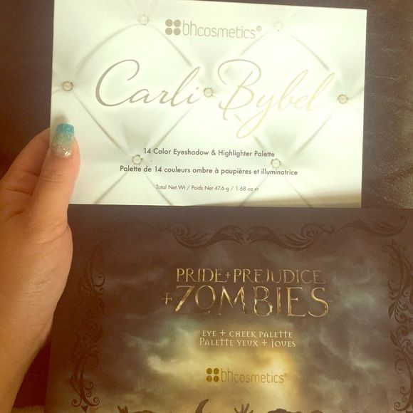 Bh cosmetics palettes Lightly swatched bh cosmetics palettes, Carli Bybel 14 color eyeshadow & highlighter palette, pride + prejudice + zombies eye + cheek palette, no flaws - swatched lightly. $20 plus shipping on mercari! Bh Cosmetics Makeup Eyeshadow