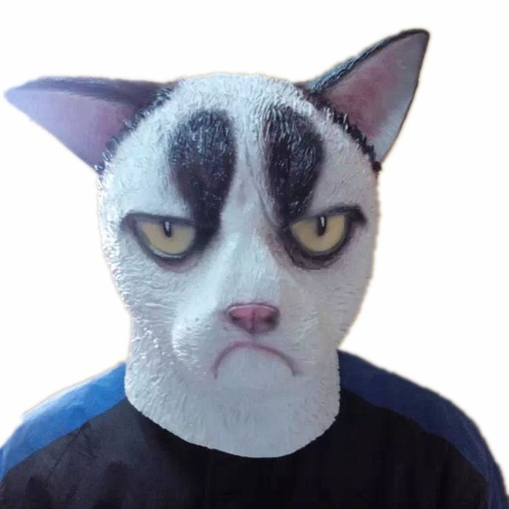 Grumpy Cat Full Head Mask Unisex Funny Latex Cosplay Animal Masks for Party Halloween