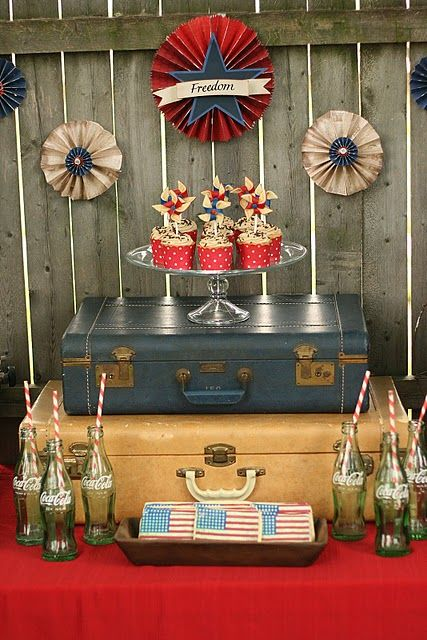 Vintage WWII Fourth of July dessert table