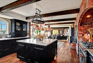 Traditional Kitchen with Raised panel, Artcraft Lighting Pot Racks Hanging Kitchen Island Pendant with 2 Light, Flush