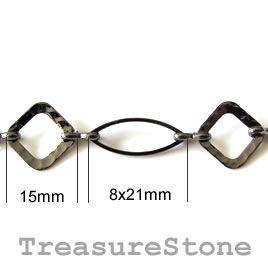 Chain, brass, black-finished, 15/8x21mm. TreasureStone Beads Edmonton