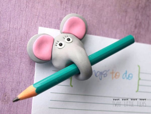 Clay elephant pencil holder