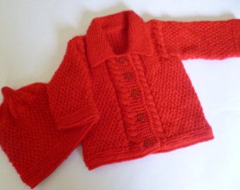 Knitted Baby Set Newborn Girl Set Sweater and Beanie by Pitusa