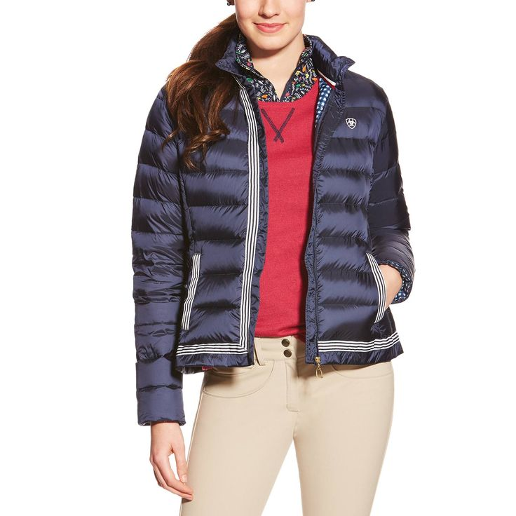 ARIAT HAGEN DOWN JACKET Incredibly warm and stylish. Features down fill, stunning trim detailing, and hand pockets. Perfect for the barn or around town. Navy. Sizes: S – XL. DRC8283. GREAT PRICE: $164.99 *PRICES VALID SEPTEMBER 1ST – JANUARY 31ST, 2016