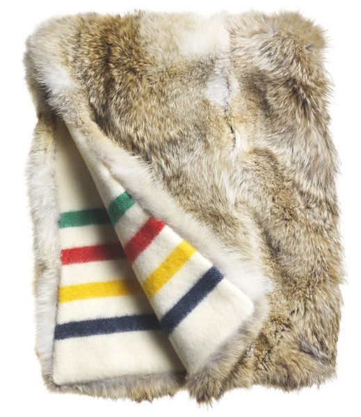 HUDSON'S BAY COMPANY COLLECTION COYOTE FUR THROW BLANKET / Alison Milne Gallery