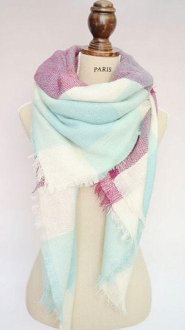 Mint Plaid Blanket Scarf