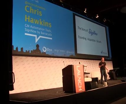 Chris Hawkins takes the state at the LAUNCH Festival in San Francisco, February 2014.