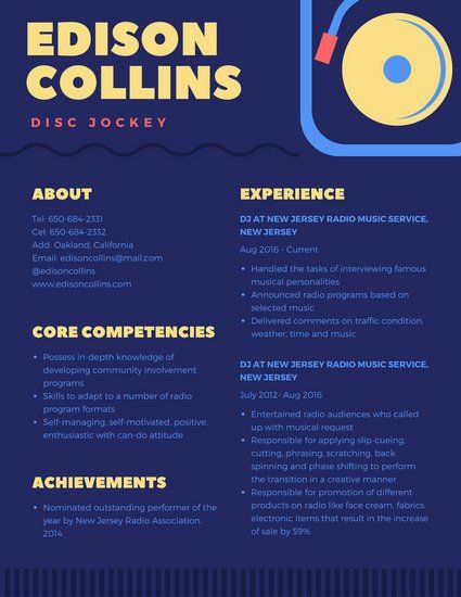 70 best Resume images on Pinterest Infographic resume, Resume - dj resume