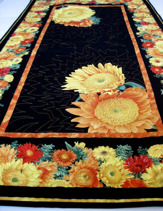 Awesome Quilted Table Runner Sunflowers Autumn Decor By SallyManke On Etsy