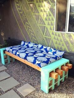Cinder block outdoor bench with cushions