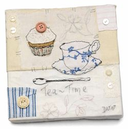 This collage art, called Tea Time, is the perfect example of using a variety of textiles in collage/mixed media.