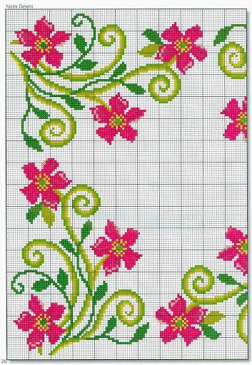 Pink Flower pillow chart1