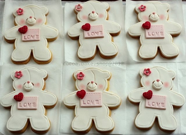 Valentine White Bear cookies by Simply Cupcake