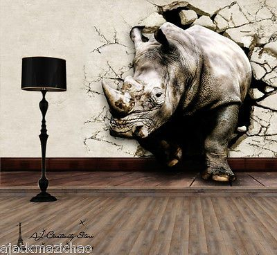 Details about 3D Rhino Break Thr Wall Paper Wall Print ...