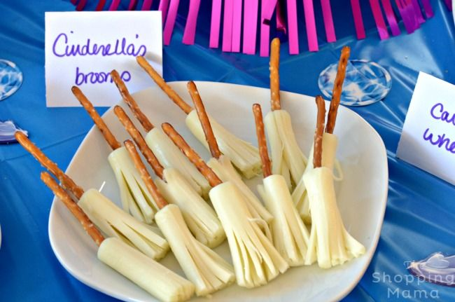 "Cinderella-inspired ""broomsticks"" made from pretzels and cheese sticks"